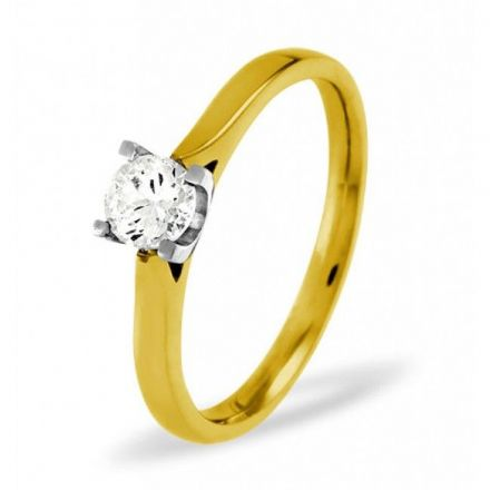 18K Gold 0.25ct Diamond Solitaire Ring, SR05-25PKY